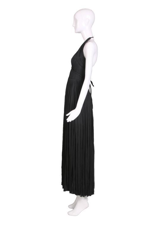 1970's Madame Gres Haute Couture Black Pleated Drapé Halter Gown W/Shawl & Slip 3