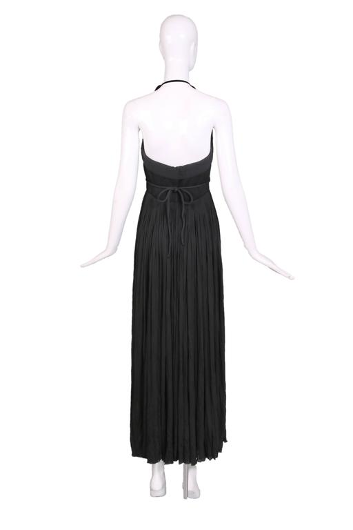 Women's 1970's Madame Gres Haute Couture Black Pleated Drapé Halter Gown W/Shawl & Slip For Sale
