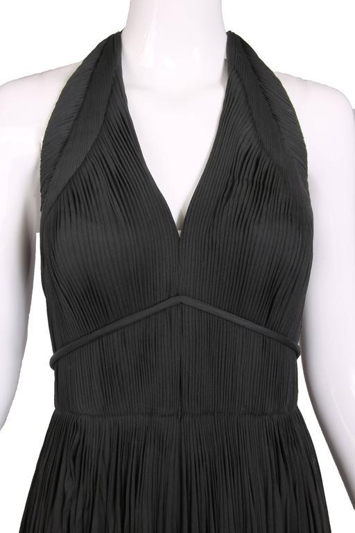 1970's Madame Gres Haute Couture Black Pleated Drapé Halter Gown W/Shawl & Slip 5