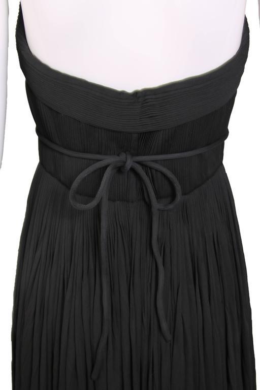 1970's Madame Gres Haute Couture Black Pleated Drapé Halter Gown W/Shawl & Slip 6