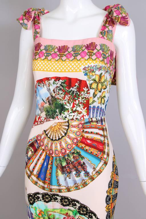 Dolce & Gabbana Fitted Silk Cocktail Dress W/Graphic Fan Print & Trumpet Hem For Sale 2