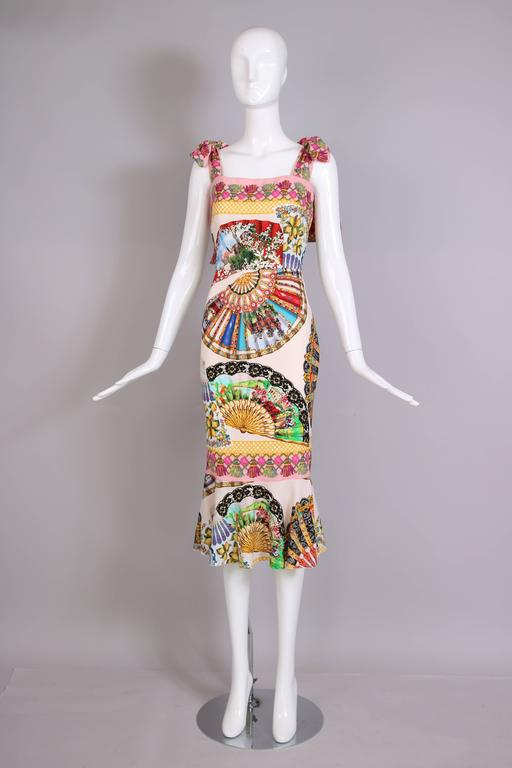 Beige Dolce & Gabbana Fitted Silk Cocktail Dress W/Graphic Fan Print & Trumpet Hem For Sale