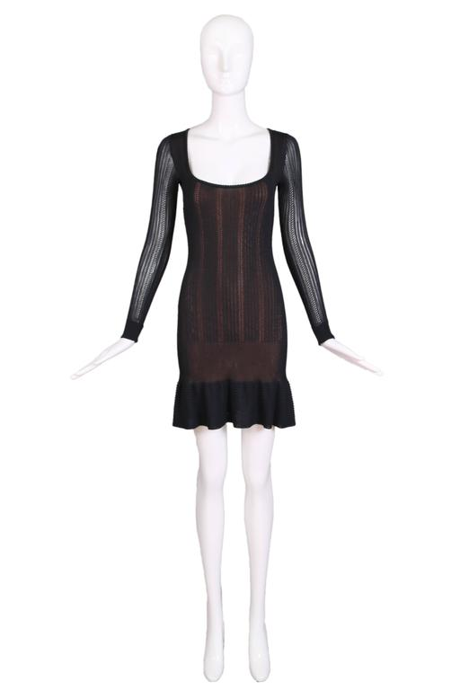 Alaia Black Sheer Stretch Viscose Long Sleeved Mini Dress W/Flounced Hem 2