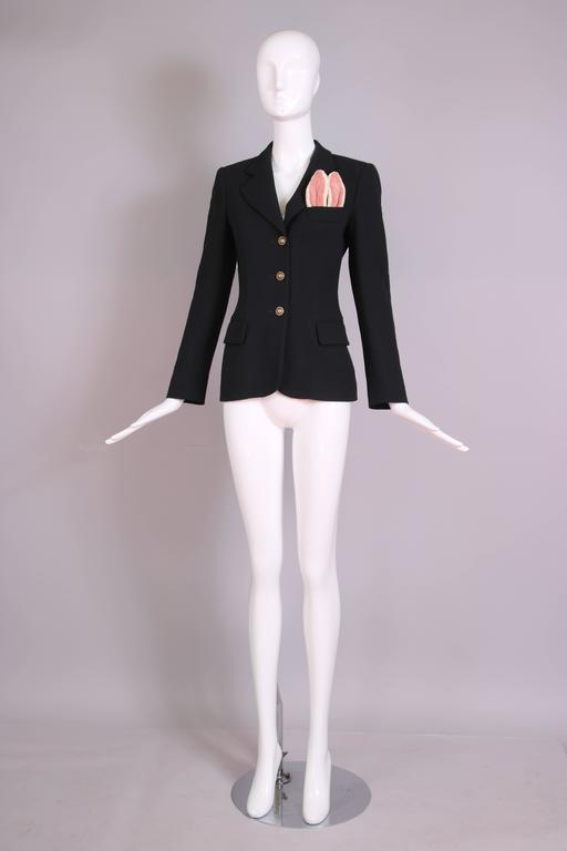 Vintage Moschino Black Wool Blazer Jacket W/Bunny Ears In Top Pocket 3