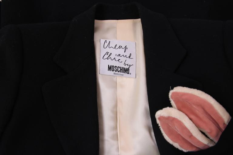 Vintage Moschino Black Wool Blazer Jacket W/Bunny Ears In Top Pocket 7