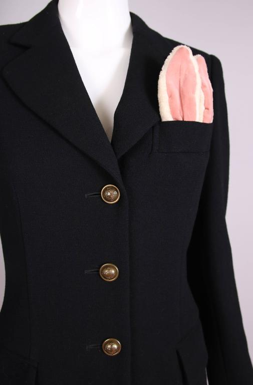 Vintage Moschino Black Wool Blazer Jacket W/Bunny Ears In Top Pocket 6