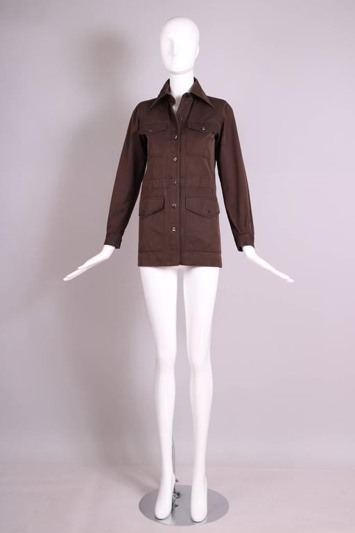 Black 1970's Yves Saint Laurent YSL Brown Safari Jacket For Sale