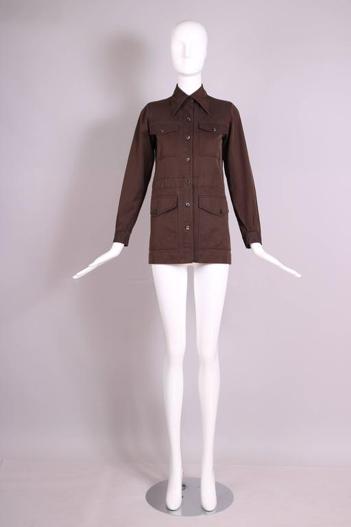 1970's Yves Saint Laurent YSL Brown Safari Jacket In Excellent Condition For Sale In Los Angeles, CA
