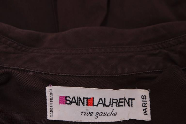 1970's Yves Saint Laurent YSL Brown Safari Jacket For Sale 3