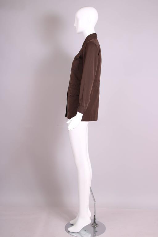 Women's or Men's 1970's Yves Saint Laurent YSL Brown Safari Jacket For Sale