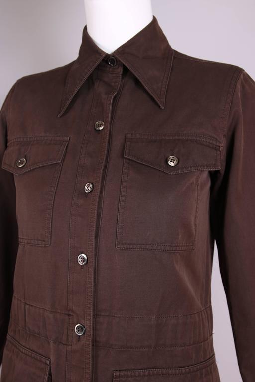 1970's Yves Saint Laurent YSL Brown Safari Jacket For Sale 2