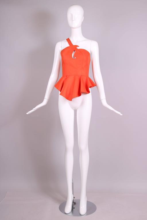 Red Vintage Thierry Mugler Orange Asymmetric Structured Bustier Top w/Peplum Waist For Sale