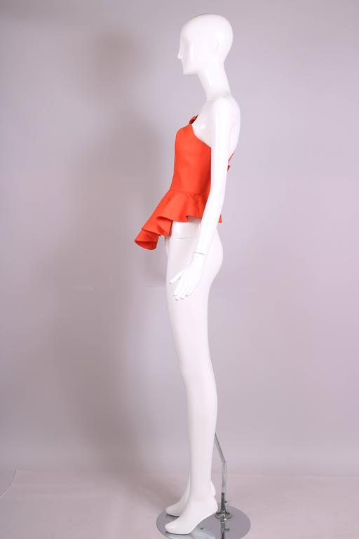 Vintage Thierry Mugler Orange Asymmetric Structured Bustier Top w/Peplum Waist In Excellent Condition For Sale In Los Angeles, CA