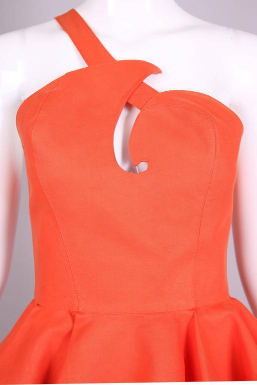 Vintage Thierry Mugler Orange Asymmetric Structured Bustier Top w/Peplum Waist For Sale 1