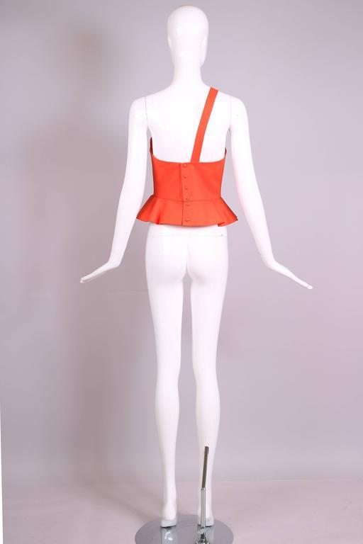 Women's Vintage Thierry Mugler Orange Asymmetric Structured Bustier Top w/Peplum Waist For Sale
