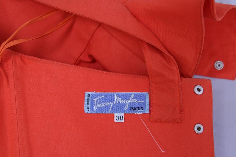 Vintage Thierry Mugler Orange Asymmetric Structured Bustier Top w/Peplum Waist For Sale 2