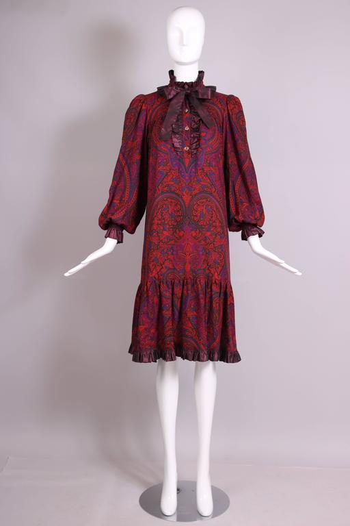 Brown 1970's Yves Saint Laurent YSL Paisley Smock Dress w/Taffeta Trim & Neck Ties For Sale