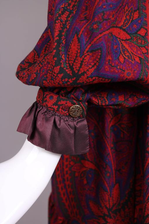 Women's 1970's Yves Saint Laurent YSL Paisley Smock Dress w/Taffeta Trim & Neck Ties For Sale