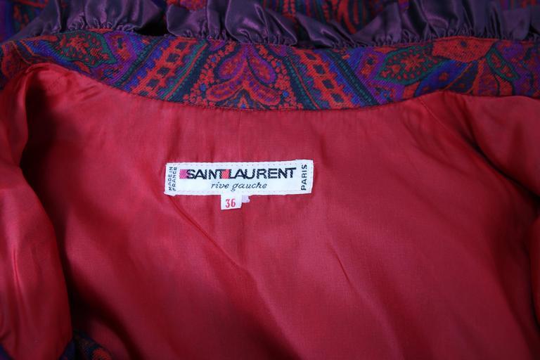 1970's Yves Saint Laurent YSL Paisley Smock Dress w/Taffeta Trim & Neck Ties For Sale 2
