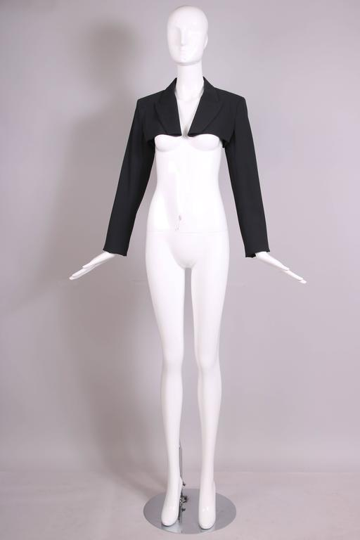 Jean Paul Gaultier Black Ultra Cropped Blazer Top In Excellent Condition For Sale In Los Angeles, CA