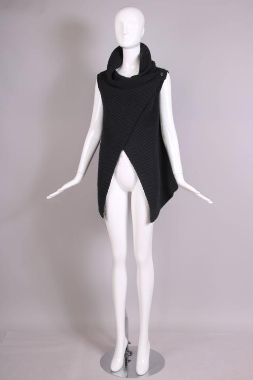 Jil Sander Black Cable Knit Wrap Vest 3