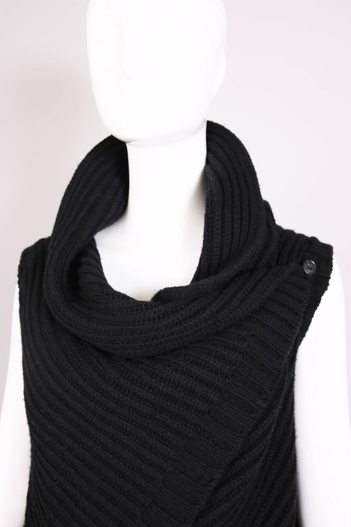Jil Sander Black Cable Knit Wrap Vest 5
