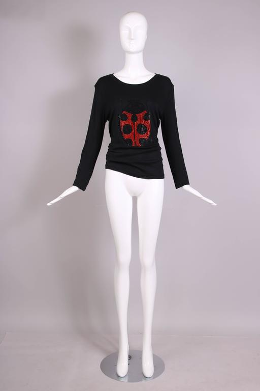 Sonia Rykiel Black Cotton Long Sleeved Shirt Top w/Jeweled Ladybug Design In Excellent Condition For Sale In Los Angeles, CA