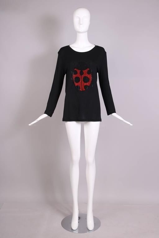 Women's Sonia Rykiel Black Cotton Long Sleeved Shirt Top w/Jeweled Ladybug Design For Sale