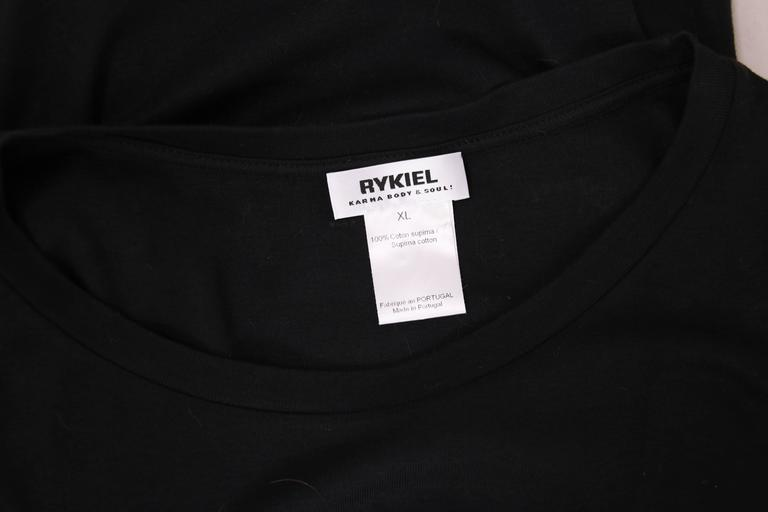 Sonia Rykiel Black Cotton Long Sleeved Shirt Top w/Jeweled Ladybug Design For Sale 3