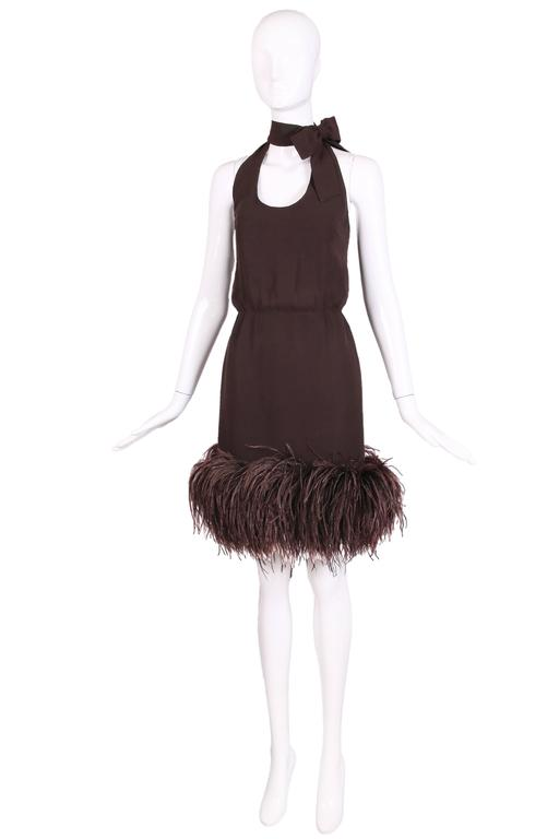 1960's Pierre Cardin Haute Couture Chiffon Cocktail Dress w/Ostrich Feather Trim 3