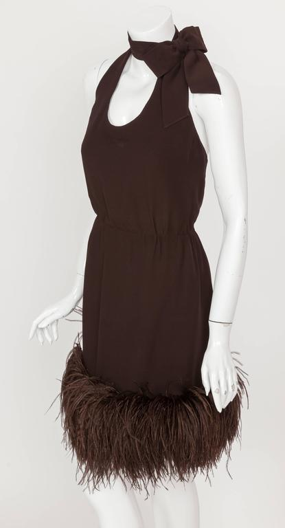 1960's Pierre Cardin Haute Couture Chiffon Cocktail Dress w/Ostrich Feather Trim 2