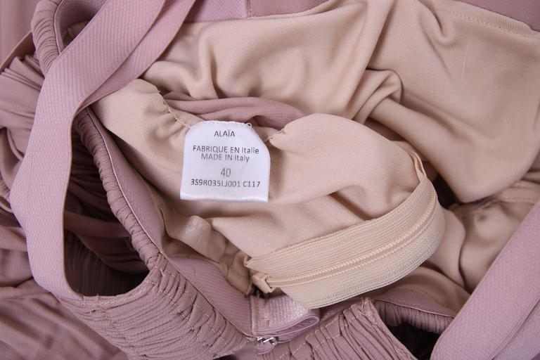 Alaia Blush Pink Grecian Mini Dress w/Deep V-Neckline & Open Sides  7