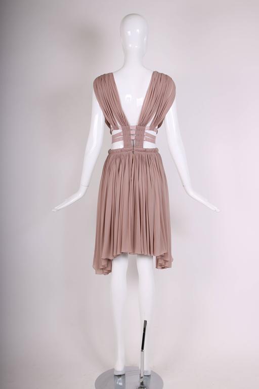 Alaia Blush Pink Grecian Mini Dress w/Deep V-Neckline & Open Sides  5