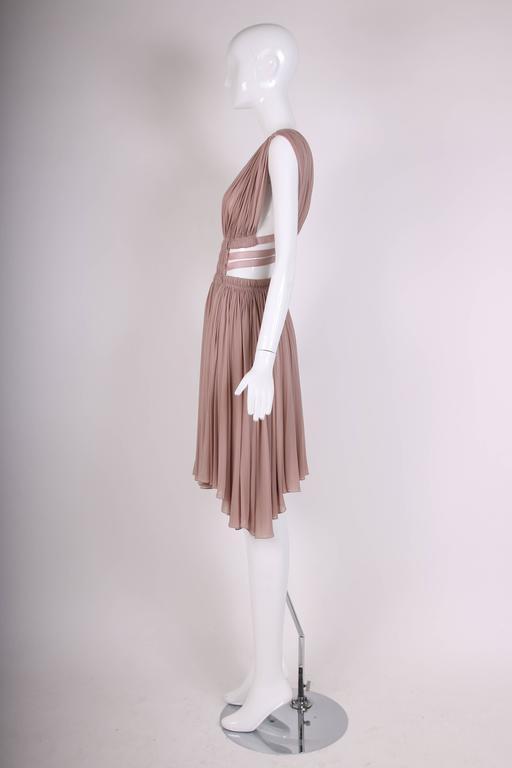 Alaia Blush Pink Grecian Mini Dress w/Deep V-Neckline & Open Sides  4