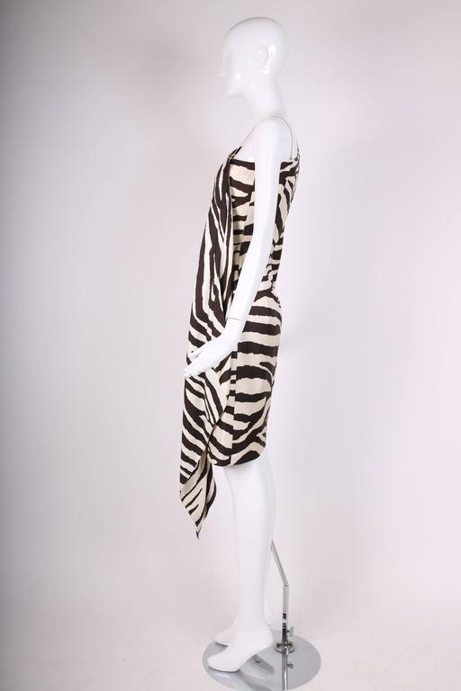 1998 S/S Thierry Mugler Silk Single Shoulder Cocktail Dress w/Zebra Print In Excellent Condition For Sale In Los Angeles, CA