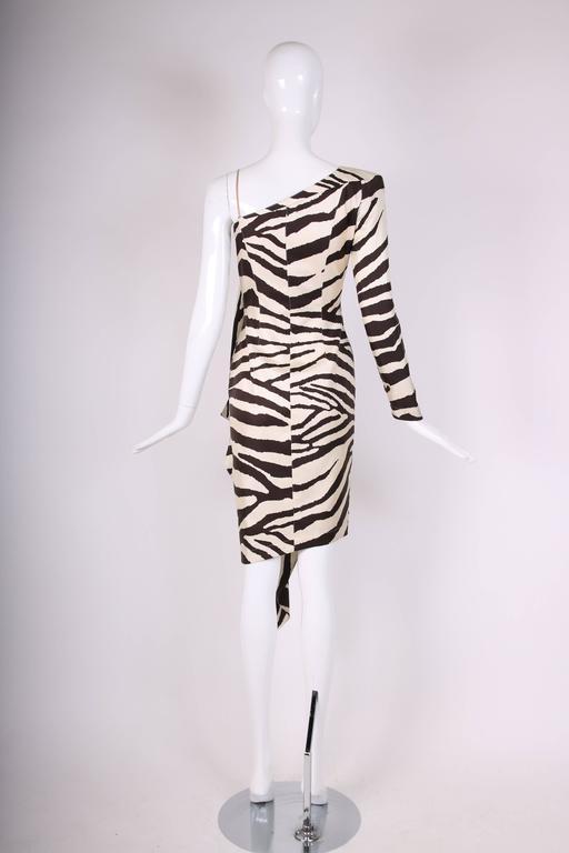 Women's 1998 S/S Thierry Mugler Silk Single Shoulder Cocktail Dress w/Zebra Print For Sale