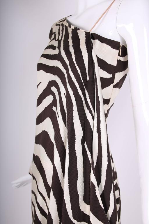 1998 S/S Thierry Mugler Silk Single Shoulder Cocktail Dress w/Zebra Print For Sale 1
