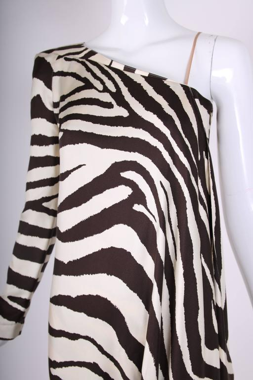 1998 S/S Thierry Mugler Silk Single Shoulder Cocktail Dress w/Zebra Print For Sale 2