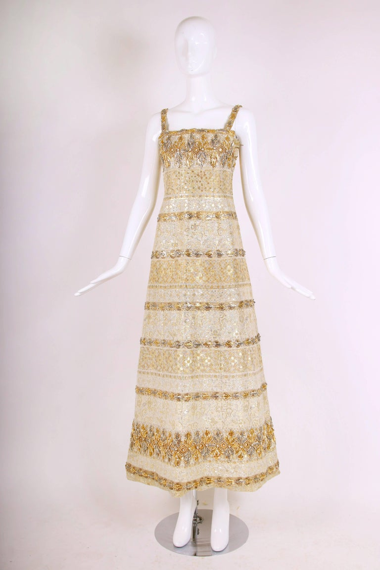 Balmain Haute Couture Evening Gown w/Metallic Embellishments Ca. 1966 No.150688 3