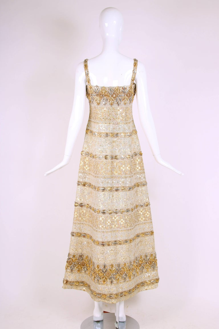 Balmain Haute Couture Evening Gown w/Metallic Embellishments Ca. 1966 No.150688 5