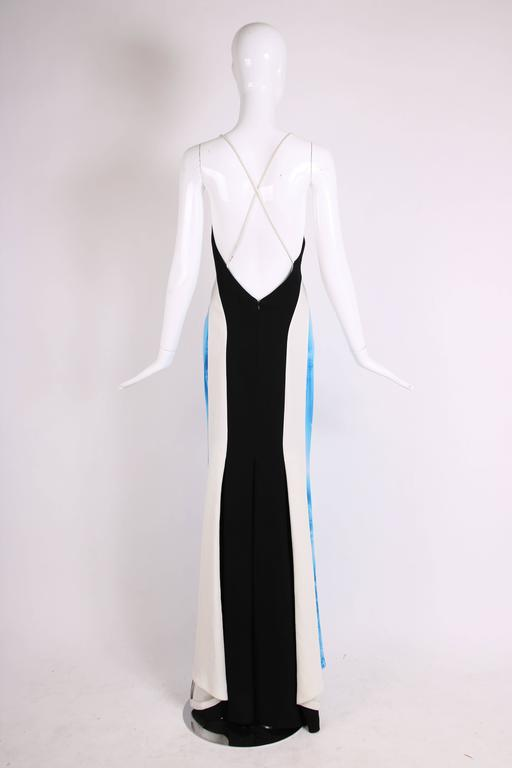 Blue 2008 Jean Paul Gaultier Deep V-Neck Spaghetti Strap Gown w/Train For Sale