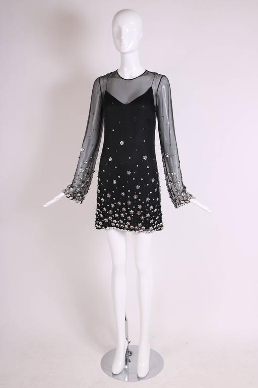 Loris Azzaro Black Silk Chiffon Mini Dress In Excellent Condition For Sale In Los Angeles, CA