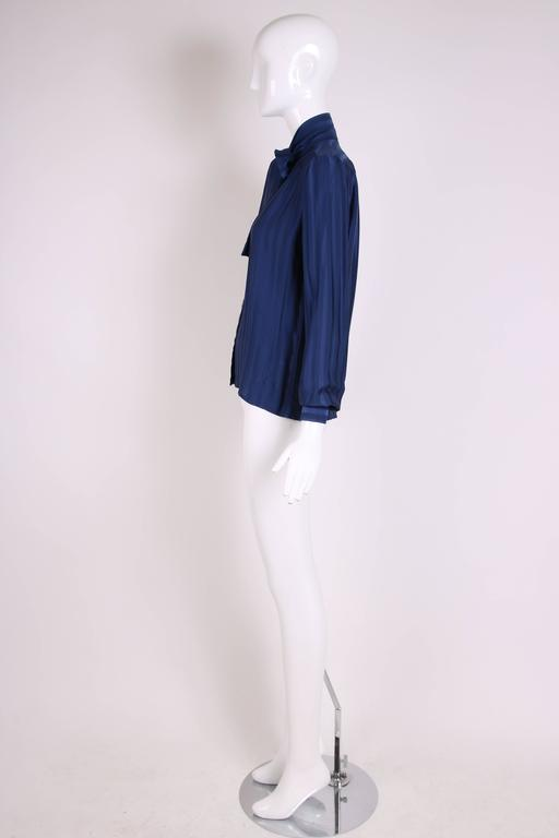 Women's Vintage Yves Saint Laurent Blue Striped Silk Blouse w/Pussy Bow For Sale