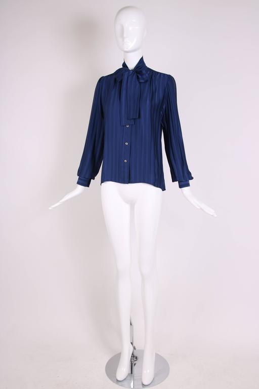 Vintage Yves Saint Laurent Blue Striped Silk Blouse w/Pussy Bow In Excellent Condition For Sale In Los Angeles, CA