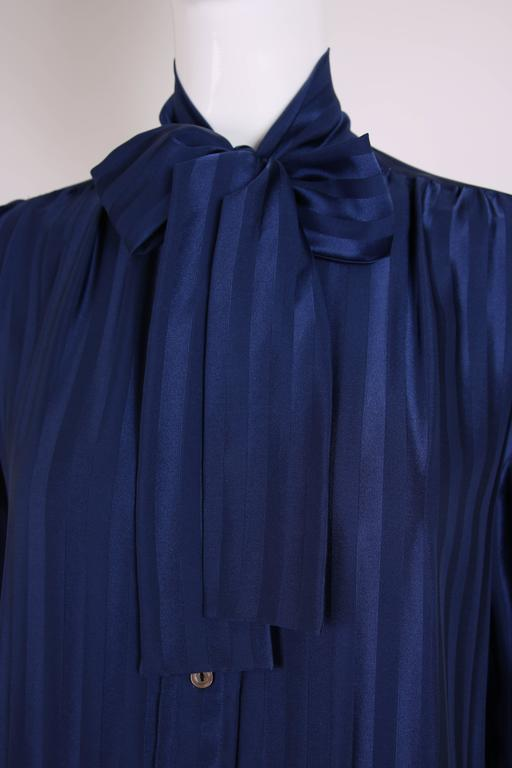 Vintage Yves Saint Laurent Blue Striped Silk Blouse w/Pussy Bow For Sale 1