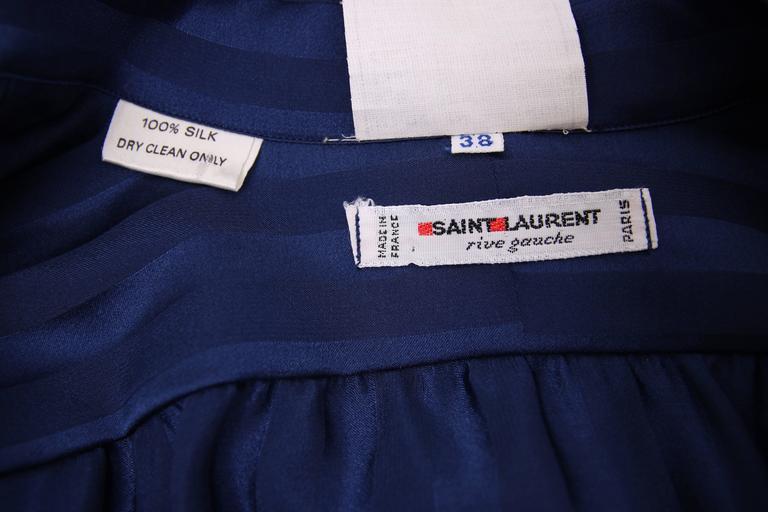 Vintage Yves Saint Laurent Blue Striped Silk Blouse w/Pussy Bow For Sale 2