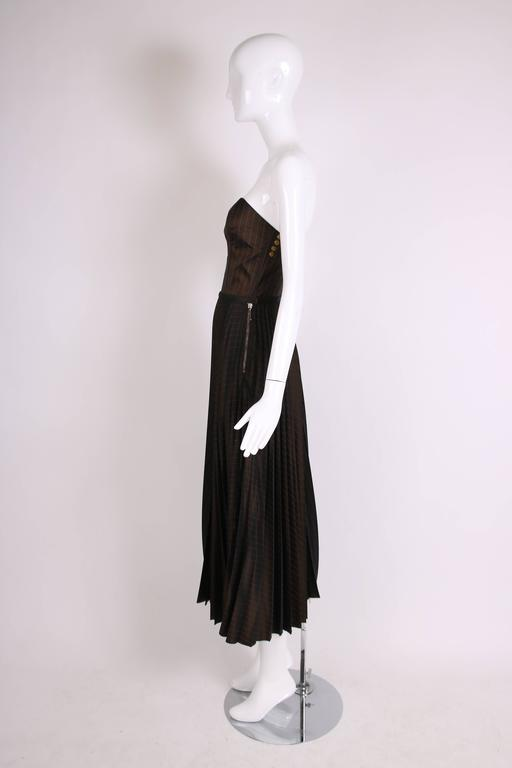 1990's Jean Paul Gaultier Striped Bustier & Pleated Skirt Ensemble In Excellent Condition For Sale In Los Angeles, CA
