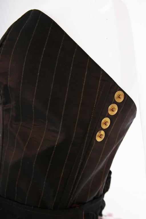1990's Jean Paul Gaultier Striped Bustier & Pleated Skirt Ensemble For Sale 2