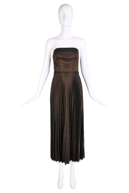 Black 1990's Jean Paul Gaultier Striped Bustier & Pleated Skirt Ensemble For Sale
