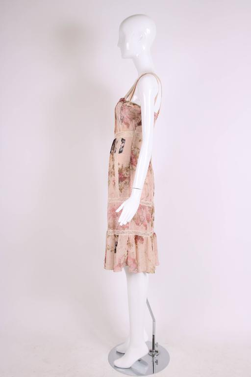 John Galliano Floral & Signature Print Dress W/Lace & Pintucking In Excellent Condition For Sale In Los Angeles, CA